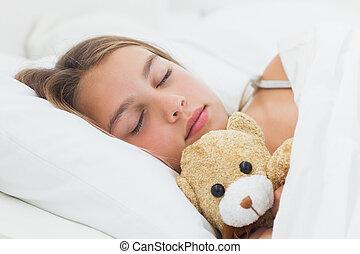 dela, urso teddy, dormir, alegre, menina