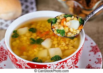 delad ärt, soppa, med, skinka, moroten, och, potatisarna