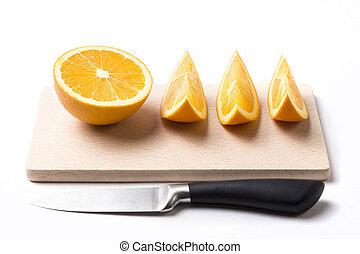 delad, apelsin, vita, bakgrund