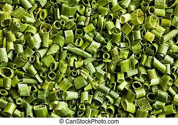 delad, gräslökar, grön