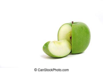 delad, grönt äpple