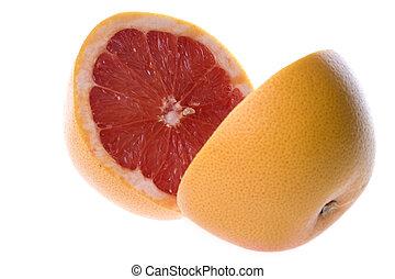 delad, grapefrukt, isolerat