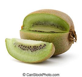 delad, kiwi frukt, isolerat, vita, bakgrund, utklippsfigur