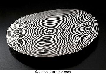 delad, ved, med, svartvitt, årlig, ringer