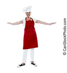 delantal, toque, chef, atractivo, hembra, rojo
