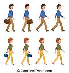 delantero, carácter, rápido, illustration., posturas, caricatura, secuencia, adulto, ambulante, yendo, mudanza, joven, hombre, conjunto, lento, vector, mujer, gente, oficina
