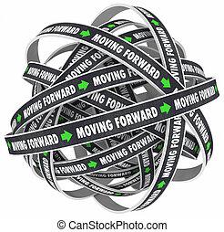 delantero, futuro, mudanza, palabras, caminos, progreso, ...