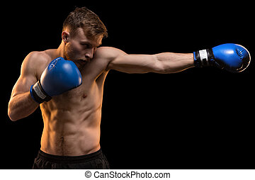delantero, muscular, puño, hombre