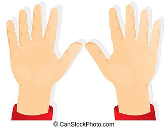 delantero, niños, manos, palmas