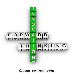 delantero, pensamiento, innovación
