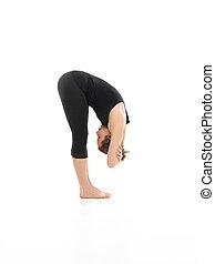 delantero, postura, yoga, doblado
