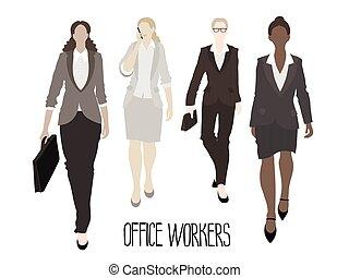 delantero, yendo, business-ladies
