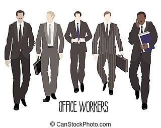 delantero, yendo, hombres de negocios