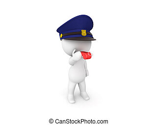 delatar whistle, director de tráfico, rojo, 3d