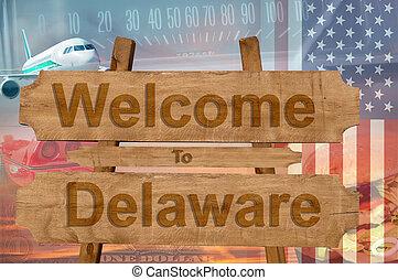 delaware, estados unidos de américa, bienvenida, madera, ...