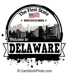 Delaware vintage stamp with The First State written inside, vector illustration