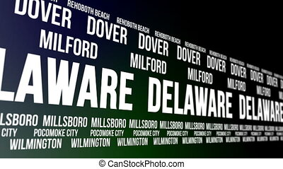 Delaware State and Major Cities - Animated scrolling banner...