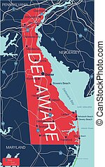 Delaware state detailed editable map