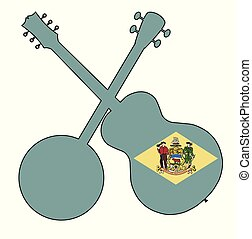 Delaware State Flag Banjo And Guitar Silhouette