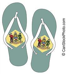 Delaware State Flag Flip Flop Shoes