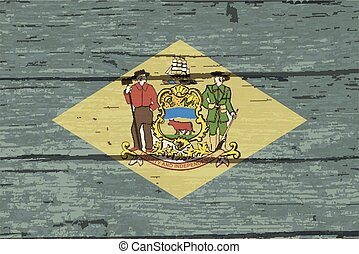 Delaware State Flag On Old Timber