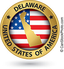 Delaware state gold label with state map, vector ...