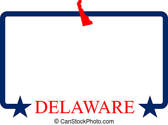 Delaware state map, frame and name.