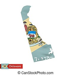 Delaware state map with waving flag of US State.