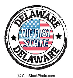 Delaware, The first state stamp - Grunge rubber stamp with ...