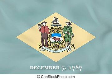 Delaware waving flag. Delaware state flag background texture.