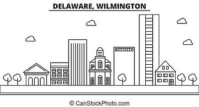 Delaware, Wilmington architecture line skyline illustration...