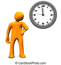 Orange cartoon character with a wall clock on the white background.