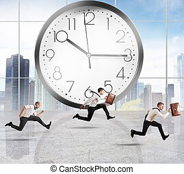 Delay - Concept of time and delay with running businessman