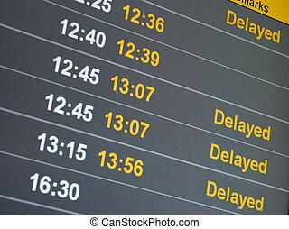 Delayed - Many delayed flights on the departure table of an...
