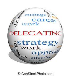 delegar, 3d, esfera, palabra, nube, concepto