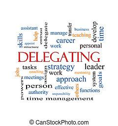 delegar, conceito, palavra, nuvem