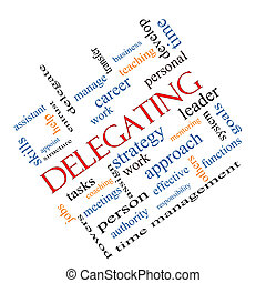 delegar, palabra, nube, concepto, angular