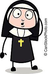 delemma, -, nonne, vektor, illustration?, dame, karikatur