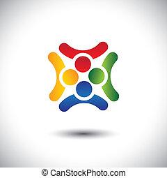 delen, kleurrijke, samen, ontwerp, tijd, vrienden, vrolijke