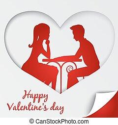 delen, liefde, card., valentine, straat., groet, diner., paar, dag, romantische