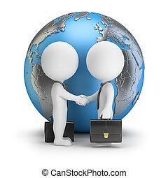 delen, mensen, globaal, -, kleine, 3d
