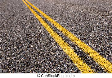 delen, snelweg, lijnen, gele