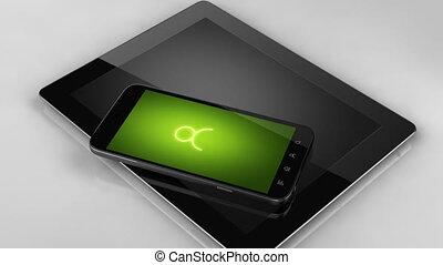 delen, vrienden, concept, smart, telefoon, scherm