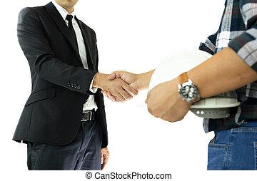 delen, zakelijk, succesvolle , hand, isolated., zakenman, rillend, ingenieur
