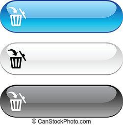 Delete button. - Delete glossy buttons. Three color version.