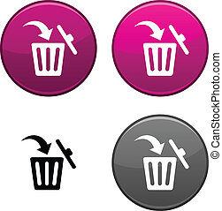 Delete button. - Delete round buttons. Black icon included.