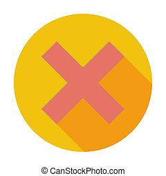 Delete button. Single flat color icon. Vector illustration.