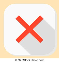 Delete close exit icon. Symbol for web application menu. Flat design button with long shadow.