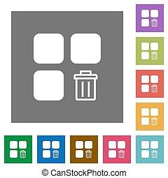 Delete component square flat icons
