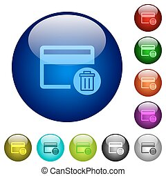 Delete credit card color glass buttons